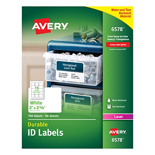 Free Barcode Label Printing Software - Avery Durable White Cover Up ID Labels for Laser Printers, 2