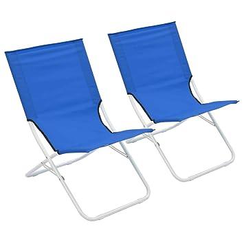 vidaXL 2X Sillas de Playa Plegables Azul Asiento Taburete ...