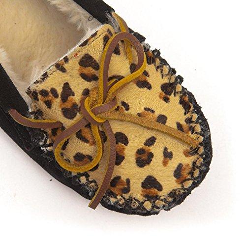 Minnetonka Womens Cally Faux Fur Slipper Leopard eJDKT8ene