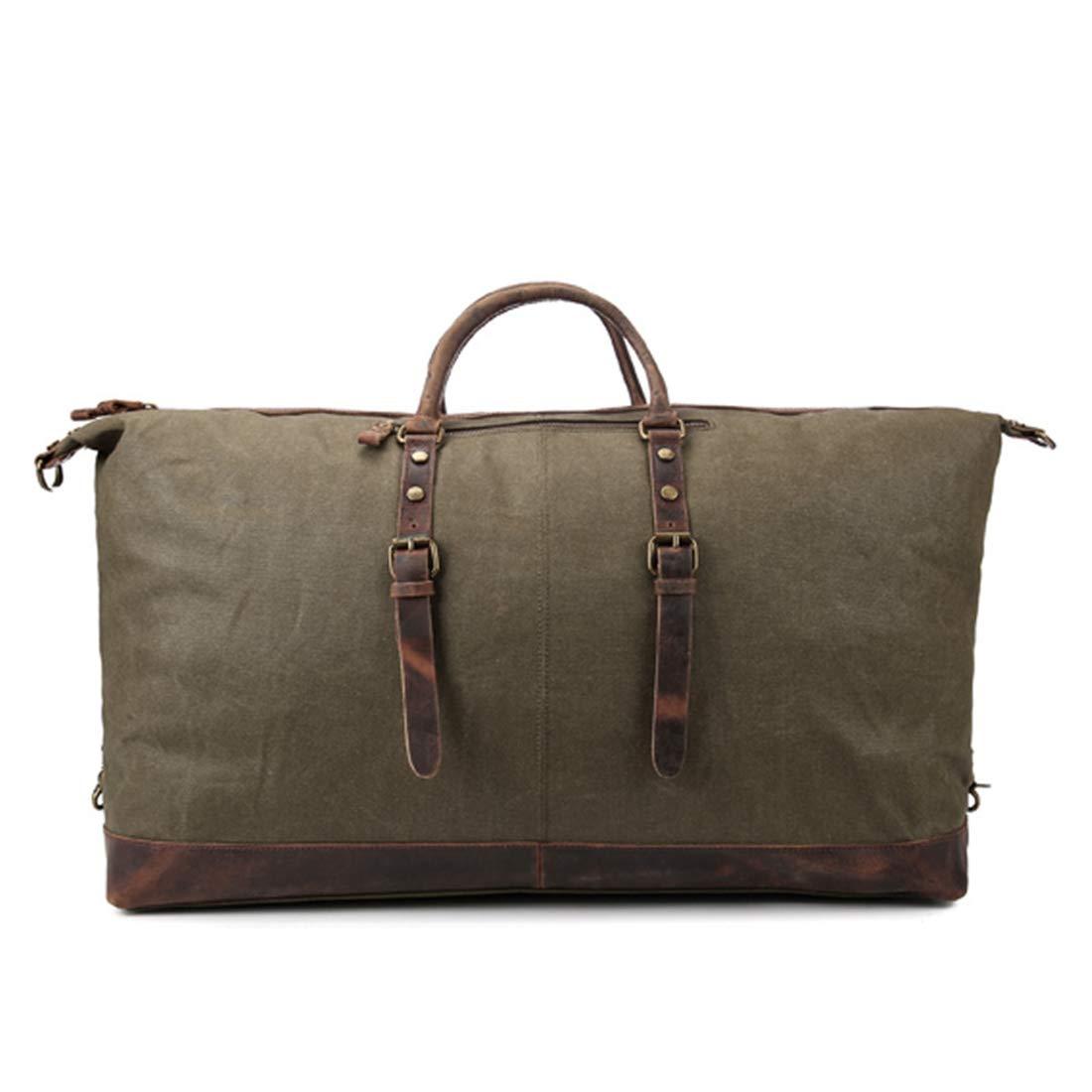 CeSuoLBD 旅行バッグワックスキャンバスのハンドバッグバッグ旅行の旅行の上の防水バッグ旅行のキャリーバッグ  アーミーグリーン B07R229SRZ