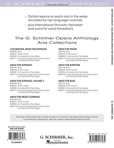 G Arias for Baritone Schirmer Opera Anthology Diction Coach : Arias for B...