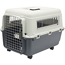 Plastic Kennels – Rolling Plastic Airline Approved Wire Door Travel Dog Crate, Medium