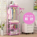 XENO-Wardrobe Closet Storage Organizer Clothes Portable Rack Armoire Cabinet Shelves(pink)