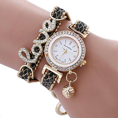 - Hunputa Fashion Womens Girls Diamonds Love Beads Ball Dual Layers Analog Quartz Wristwatch Bracelet Watches (Black)
