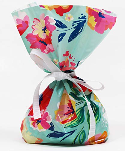Vintage Floral Watercolor Cellophane Treat Party Favor Bags with Grosgrain Ribbon Ties. Pack of 12 Large Goodie Gift Bags for Birthday Parties, Baby & Bridal Showers. Multicolor Pastel