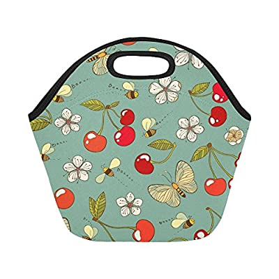 Interestprint Insulated Lunch Tote Bag Watercolor Blue Butterfly Reusable Neoprene Cooler, Blossom Flowers Floral Portable Lunchbox Handbag For Men Women Adult - Travel And To-Go Food Containers