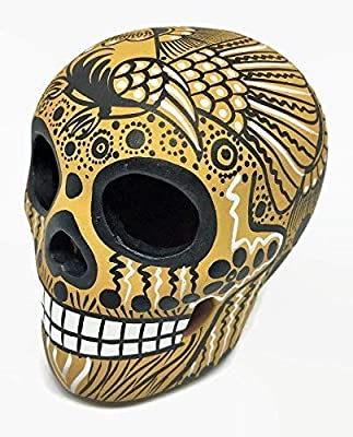 bf1f3570d0c Amazon.com: Matte Hand-Painted Ceramic Sugar Skull ~ Made in Mexico ...