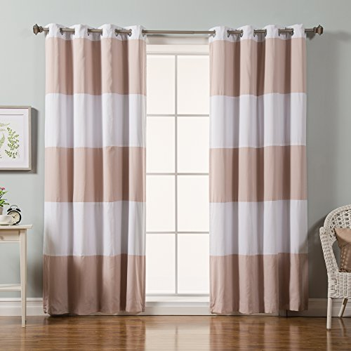 Best Home Fashion Rugby Stripe Cotton Blend Blackout Curtains -  Stainless Steel Nickel Grommet Top – Pink – 52