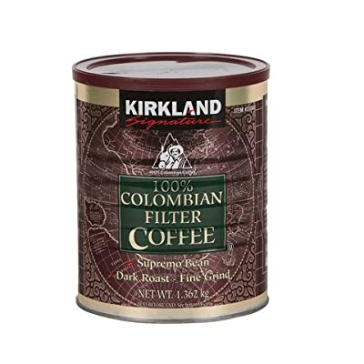 Signature 100% Colombian Coffee Supremo Bean Dark Roast-Fine Grind, 3 Pound from Kirkland Signature