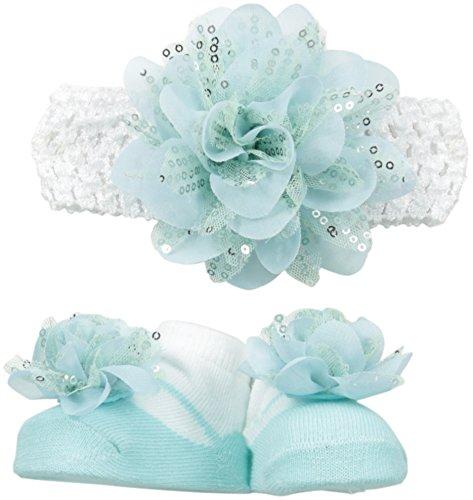 Little Me Baby-Girls Newborn Sequin Chiffon Flower Headwrap and Bootie Set, Blue, 0-12 Months