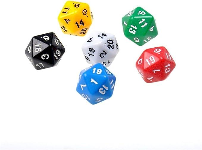 Ogquaton 6 unids/set D20 dados opacos dados de dodecaedro para mazmorras y dragones juego de varios colores juego de poliedros de resina accesorios baratos para usar: Amazon.es: Juguetes y juegos