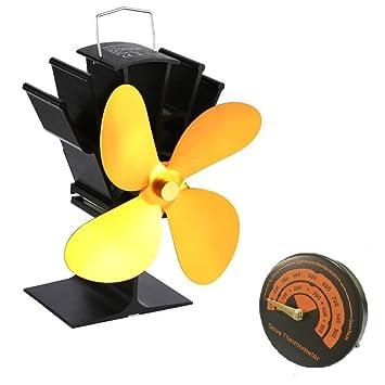 Chimenea ventilador 4 hoja soplador nuevo diseño termómetro interior calor energía estufa de madera silenciosa protección del medio ambiente negro pequeño ...