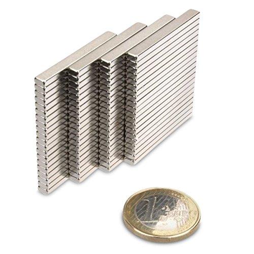 Quadermagnet 35,0 x 4,0 x 2,0 mm N52 Nickel h/ält 2 kg Neodym Supermagnet Powermagnet Haftmagnet Rechteckmagnet