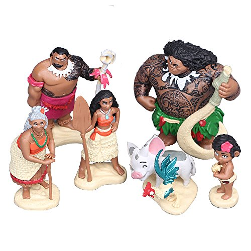 Moana Adventure Pack Playset 6pcs Movie Figures Toy Moana,Maui,Pua,Heihei,Tui Motunui,Tala