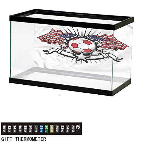 Suchashome Fish Tank Backdrop Sports,American Soccer USA Flags,Aquarium Background,30