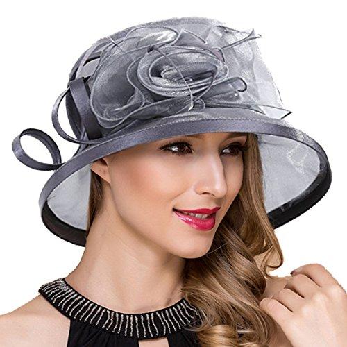 Lady Church Derby Dress Cloche Hat Fascinator Floral Tea Party Wedding Bucket Hat S051 (S043-Grey)