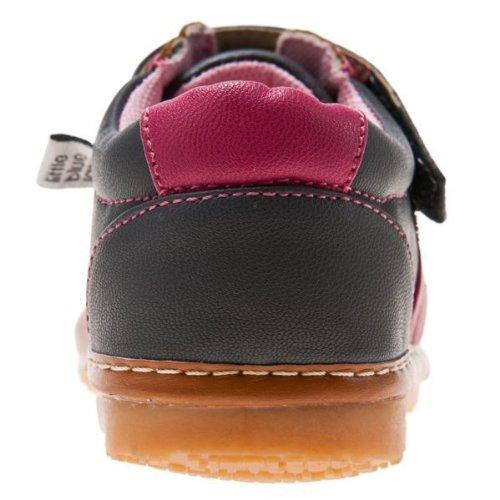 Little blue-agneau chaussons-chaussures squeaky cuir de socquettes fille-ros'et gris-dimensions :  24 cm