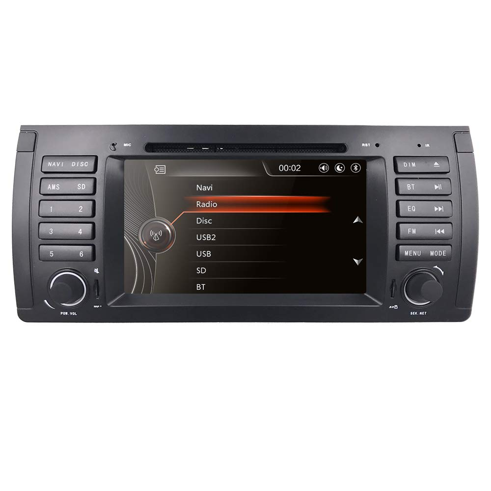 hizpo Car DVD Player in Dash GPS Radio Stereo 7 Inch 1 Din Touch Screen Bluetooth Sub Volume Control Car Stereo with GPS and Bluetooth Fit for BMW 5 Series E39 BMW X5 E53 BMW M5 BMW 7 Series E38