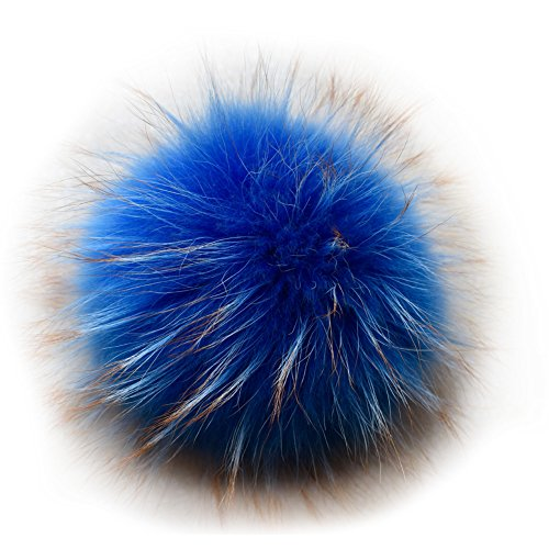 Valpeak 6 Fluffy Raccoon Fur Ball Pom Pom Keychain Womens Bag Charms Key Chain (Light Blue)
