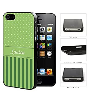 Green and White Small Polka Dots Pattern on Top with Dark and Light Green Vertical Stripes on Bottom and Green White Monogram in Center Hard Plastic Snap On Cell Phone Case Apple iPhone 4 4s