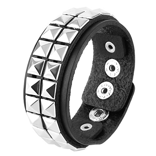 HZMAN Unisex Black Genuine Leather Silver Pyramid Studs Wristband 80s Gothic Punk Glam Emo ()