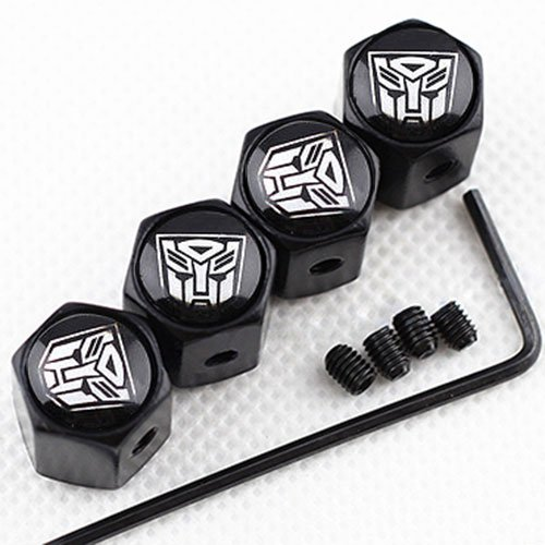 CHAMPLED New (4PC) Transformers-Autobot Logo Metal Black Wheel TIRE AIR Valve STEM CAPS DUST Cover (Transformers Seat Covers)