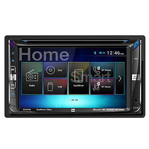 Flat Panel Stereo Speaker - Dual DV695MB Double-DIN Multimedia DVD Receiver with Bluetooth and 2-Way DualMirror Technology