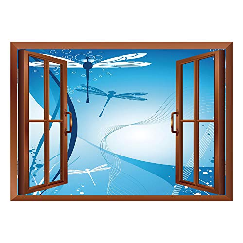 California Life Coral - SCOCICI Creative Window View Home Decor/Wall Décor-Dragonfly,Underwater Sea Life with Coral Nautical with Flying Bugs Nature Image Decorative,Sky and Violet Blue/Wall Sticker Mural