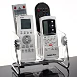 Focux Clear Acrylic Remote Control Holder Organizer Magic Telephone and Stationary Holder Holds up to 6 Remotes,360 Degree Rotatable (Clear)
