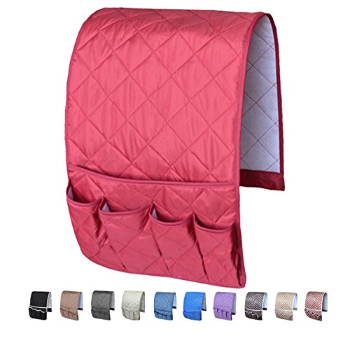 Price comparison product image MDSTOP 5 Pockets Remote Control Holder,  Magazine Rack,  Space Saver Organizer,  Draped over Sofa,  Couch,  Recliner Armrest(Wine Red)