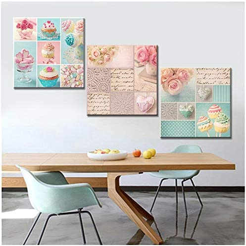 Zhaoyangeng フラワーケーキシェルポスターとプリント現代の北欧キャンバス絵画壁写真用リビングルーム-50X50Cmx3