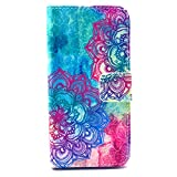 iPhone 5S Case, BEST- Eshop Purple Aztec Tribal Flower PU Leather + Silicone Magnetic Flip Wallet Card Case Cover with Stand for Apple iPhone 5 5S , With Credit Cards Slots/ Money Holder
