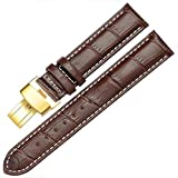 12-17mm New Genuine Leather Gold Quick Release Clasp Wrist Watch Bands Strap Replacement for Ladies Womens