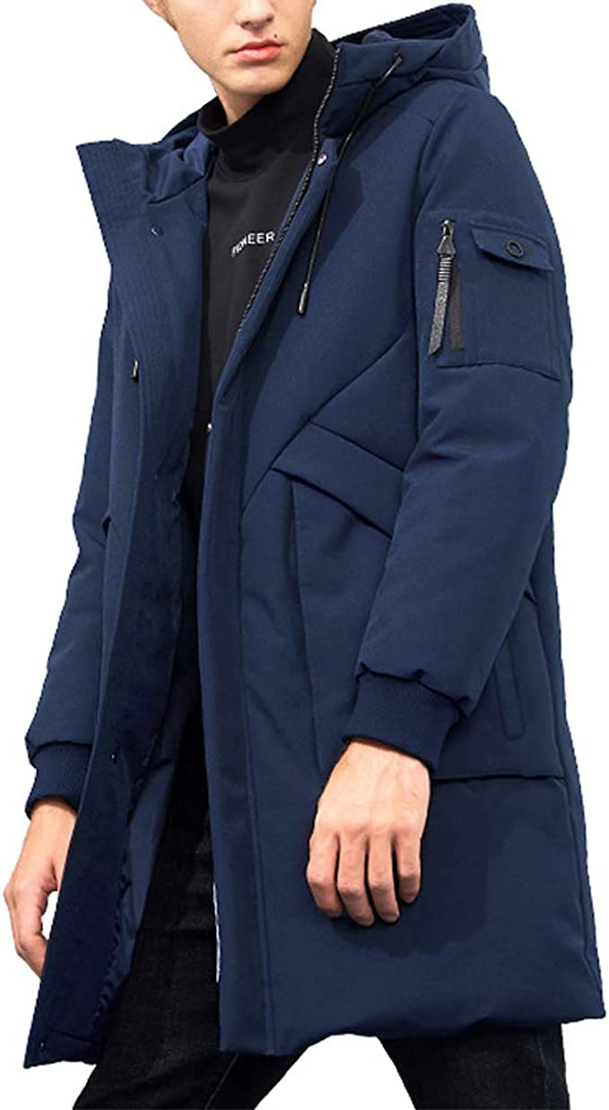 Mens Winter Hooded Thicken Parka Korean Coat Padded Cotton Long Jacket Outerwear