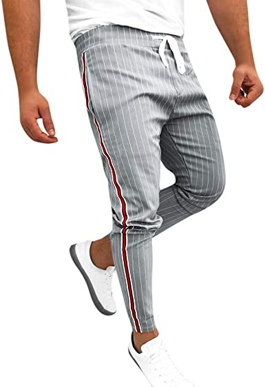 LILICAT❤Pantalons Homme Pantalon Rayé Pantalon