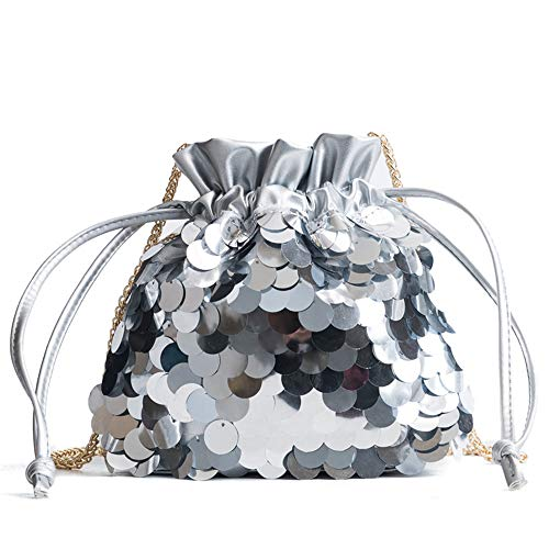 Drawstring Sequined - We'R Home Female's Fish Scale Shape Sequined Leather Drawstring Bucket Bag