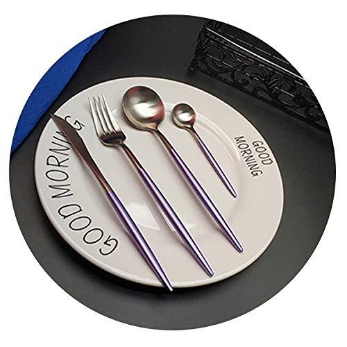 4pcs Purple Silver Western Cutlery Dinnerware Kitchen 304 Stainless steel Knife Fork Spoon Food Tableware Flatware Set,A style ()