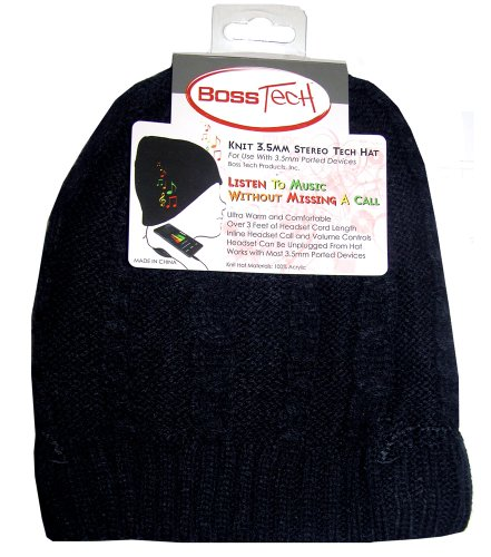 Boss Tech Products, Inc. BTP-HAT-BLKBRD Stereo Tech Cable Knit Hat with Built-In (Signature Cable Knit)