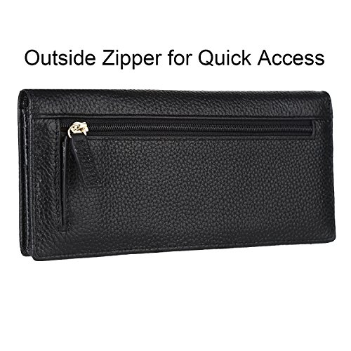 Dante-Women-RFID-Blocking-Ultra-Slim-Real-Leather-Wallet-Clutch-Wallet