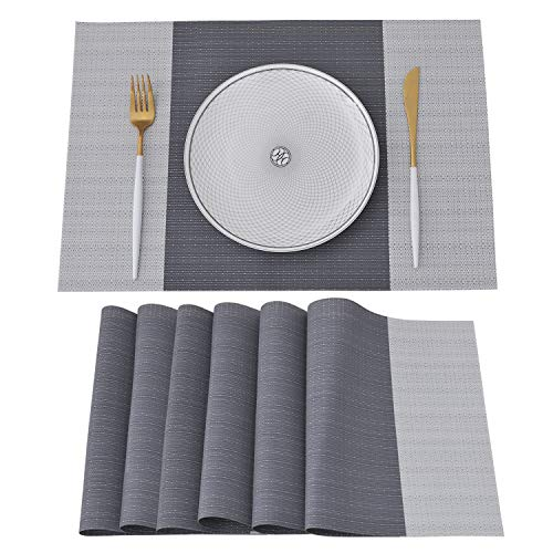 NJCharms Placemats Set of 6, Heat Resistant Washable Nautical Placemats for Dining Kitchen Table Environmental PVC Wipeable Crossweave Vinyl Woven Plastic Placemats Table Mats Easy to Clean, Gray