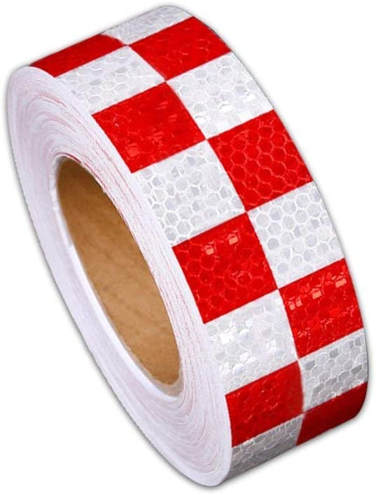 Reflective Hazard Tape Checkered Shape Caution Warning Tape Red Yellow Square Types 2/″/×16.4/′1 PCS