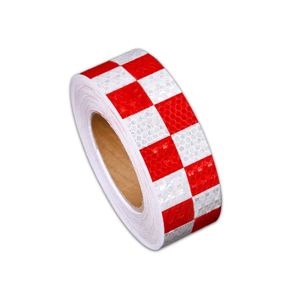 Reflective Hazard Tape Checkered Shape Caution Warning Tape Red White Square Types 2/″/×16.4/′3 PCS