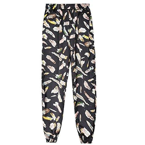 Donna High Baggy Stoffa Libero Waist Marca Mode Moda Feder Eleganti Lanterna Pantaloni Stampate Trousers Blacke Estivi Di Tempo Lunghe Spiaggia rwYwqI