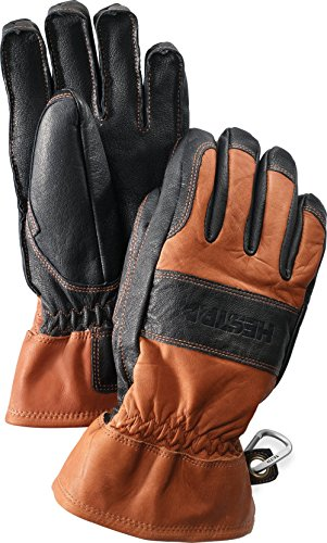 (Hestra Mens and Womens Ski Gloves: Guide Leather Winter Gloves with Wool Lining, Brown/Black, 9)