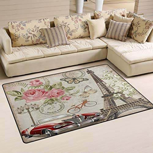 ALAZA Vintage Paris Eiffel Tower Rose Flower_401339266 Non Slip Area Rug 2' x 3', Modern Floor Rugs Mat for Living Room Bedroom Dinning Room Home Decor (2ft Eiffel Tower)