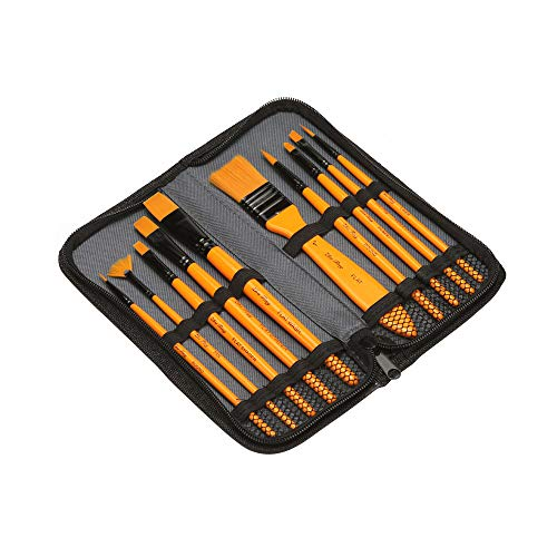 10pcs Paint Brushes Set Kit Artist Paintbrush Multiple Mediums Brushes with Carry Bag Nylon Hair for Artist Acrylic…