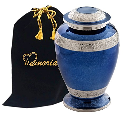 Palatinate Blue and Silver Brass Cremation Urn for Human Ashes by Memorials4u - Adult Funeral Urn Handcrafted with Engraved Bands - Affordable Urn for Ashes - Large Urn Deal (Silver Cremation Urn compare prices)