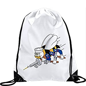 Express It Best Large Drawstring Bag with US Naval Construction Force (CBs, SeaBees), logo - Long lasting vibrant image by Express It Best