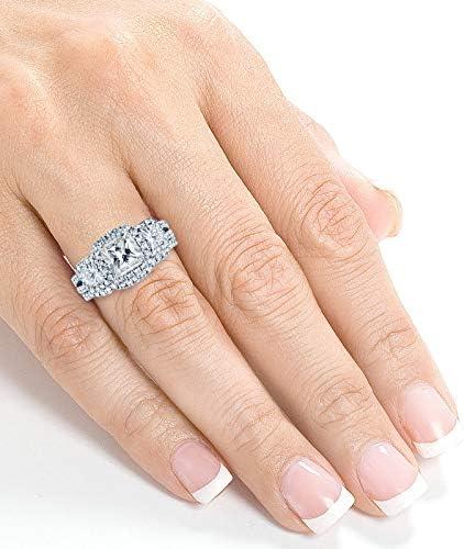 Kobelli Princess Moissanite Halo 3-Stone Bridal Rings Set 3 1/10 CTW 14k White Gold