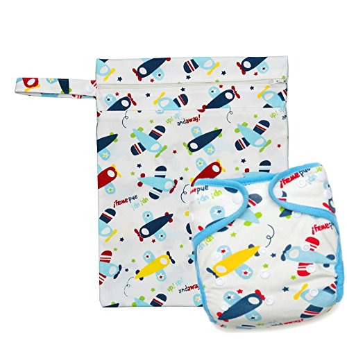 Price comparison product image Kawaii Baby One Size Bamboo Charcoal Cloth Diaper + 2 Inserts & Wetbag gift set (Diaplane)